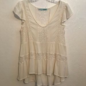 Lace/cotton high low top